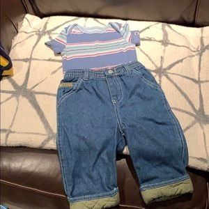 Lucky brand onesie, faded glory jeans SZ 3-6 mons.
